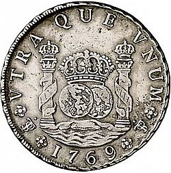 Large Reverse for 8 Reales 1769 coin