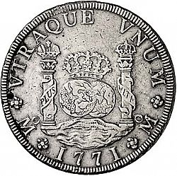 Large Reverse for 8 Reales 1771 coin