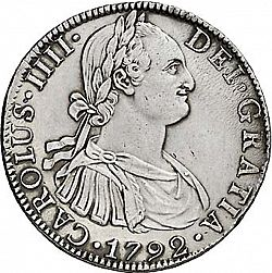 Large Obverse for 8 Reales 1792 coin