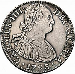 Large Obverse for 8 Reales 1793 coin