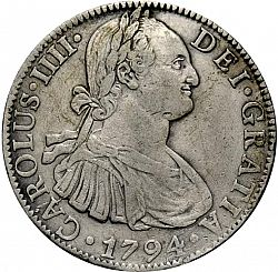 Large Obverse for 8 Reales 1794 coin