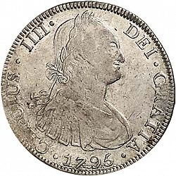 Large Obverse for 8 Reales 1795 coin
