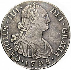 Large Obverse for 8 Reales 1798 coin