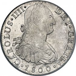 Large Obverse for 8 Reales 1800 coin