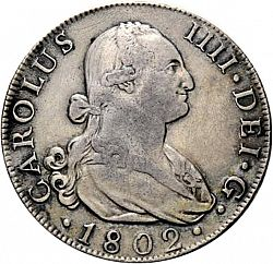 Large Obverse for 8 Reales 1802 coin