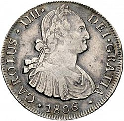 Large Obverse for 8 Reales 1806 coin