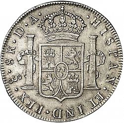 Large Reverse for 8 Reales 1793 coin