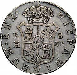 Large Reverse for 8 Reales 1798 coin