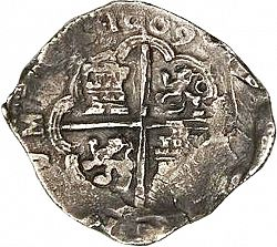 Large Reverse for 8 Reales 1609 coin