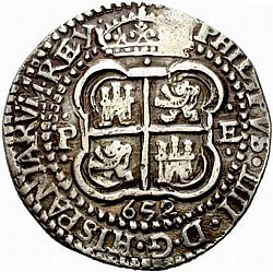 Large Reverse for 8 Reales 1652 coin