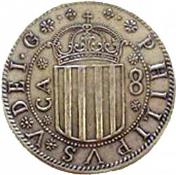 Large Obverse for 8 Reales 1707 coin