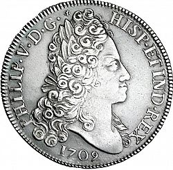Large Obverse For 8 Reales 1709 Coin