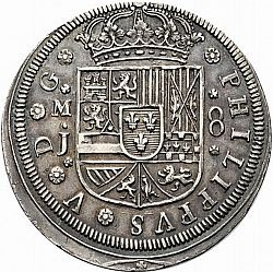 Large Obverse for 8 Reales 1710 coin
