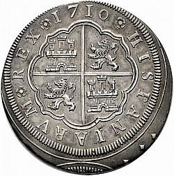 Large Reverse for 8 Reales 1710 coin