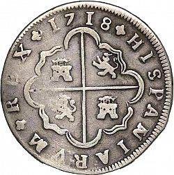 Large Reverse for 8 Reales 1718 coin