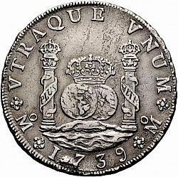 Large Reverse for 8 Reales 1739 coin