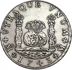 Large Reverse for 8 Reales 1743 coin