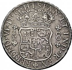 Large Obverse for 8 Reales 1758 coin