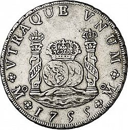 Large Reverse for 8 Reales 1755 coin