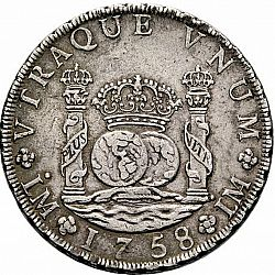 Large Reverse for 8 Reales 1758 coin