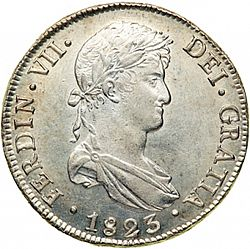 Large Obverse for 8 Reales 1823 coin