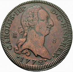 Large Obverse for 8 Maravedies 1772 coin