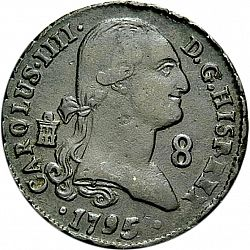 Large Obverse for 8 Maravedies 1795 coin