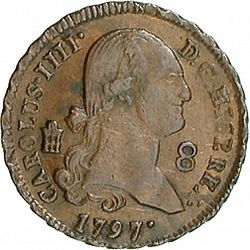 Large Obverse for 8 Maravedies 1797 coin
