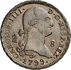 Large Obverse for 8 Maravedies 1799 coin