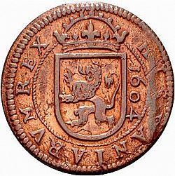 Large Reverse for 8 Maravedies 1604 coin