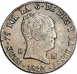 Large Obverse for 8 Maravedies 1823 coin