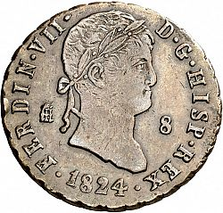 Large Obverse for 8 Maravedies 1824 coin