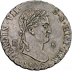 Large Obverse for 8 Maravedies 1828 coin