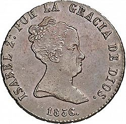Large Obverse for 8 Maravedies 1836 coin