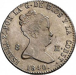 Large Obverse for 8 Maravedies 1840 coin
