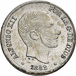Large Obverse for 10 Centavos Peso 1882 coin