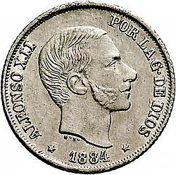Large Obverse for 10 Centavos Peso 1884 coin