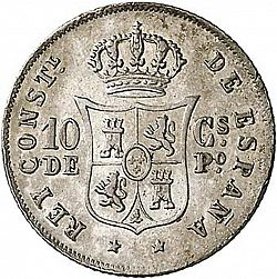 Large Reverse for 10 Centavos Peso 1882 coin