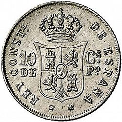 Large Reverse for 10 Centavos Peso 1884 coin