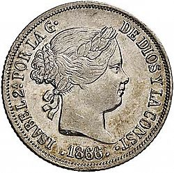 Large Obverse for 10 Céntimos Peso 1866 coin