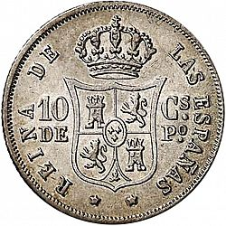 Large Reverse for 10 Céntimos Peso 1866 coin