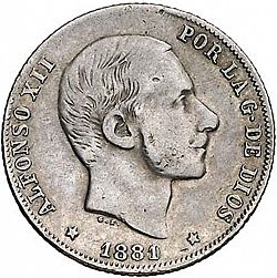 Large Obverse for 20 Centavos Peso 1881 coin