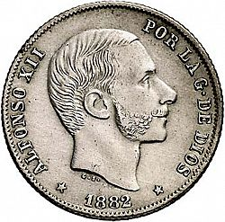 Large Obverse for 20 Centavos Peso 1882 coin