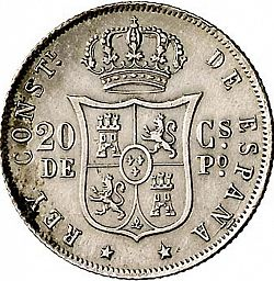 Large Reverse for 20 Centavos Peso 1882 coin