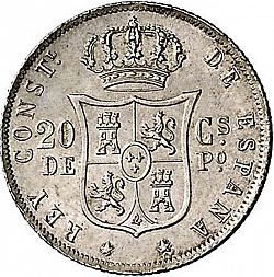 Large Reverse for 20 Centavos Peso 1883 coin