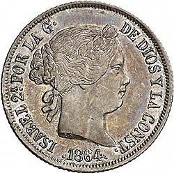 Large Obverse for 20 Céntimos Peso 1864 coin