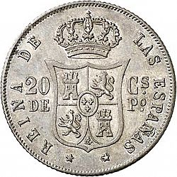 Large Reverse for 20 Céntimos Peso 1864 coin