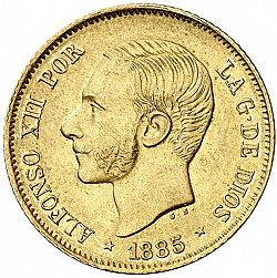 Large Obverse for 4 Pesos 1885 coin