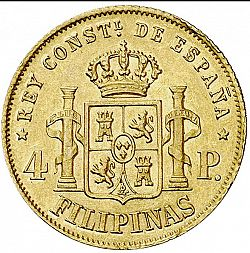Large Reverse for 4 Pesos 1885 coin