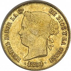 Large Obverse for 4 Pesos 1864 coin
